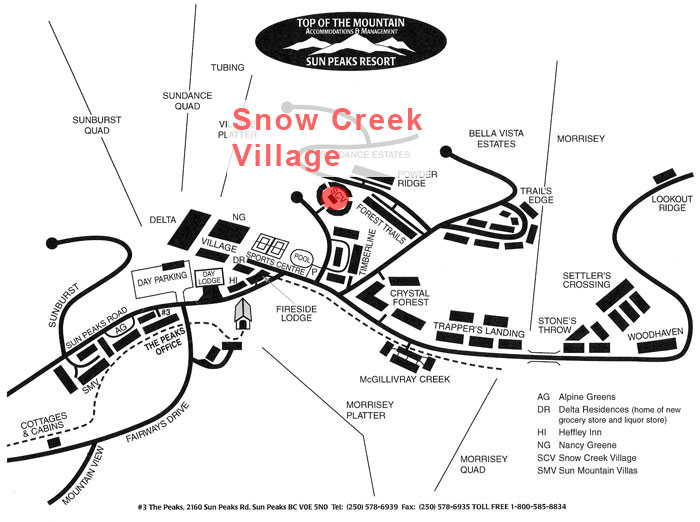 Snow Creek Village Map