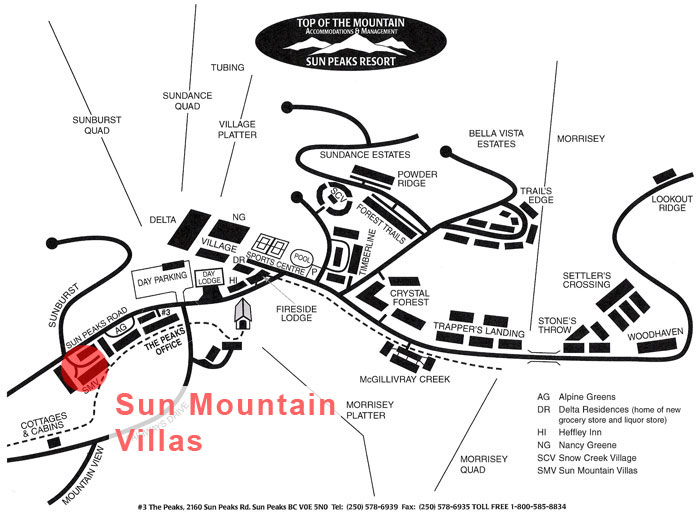 Sun Mountain Villas Map